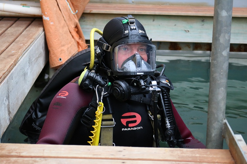 Diver in dive training tank