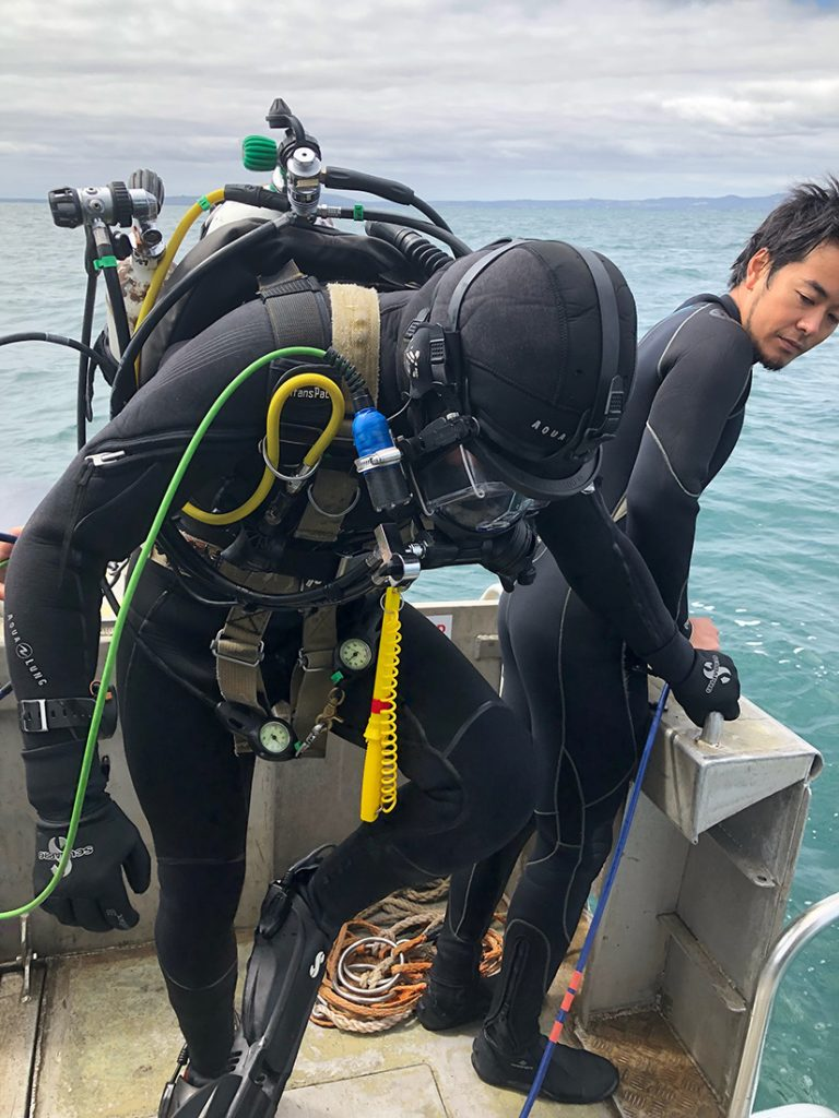 Adas Part 1 commercial diving student preparing to enter water