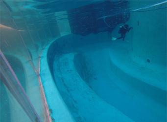 Aquarium Divers cleaning wall